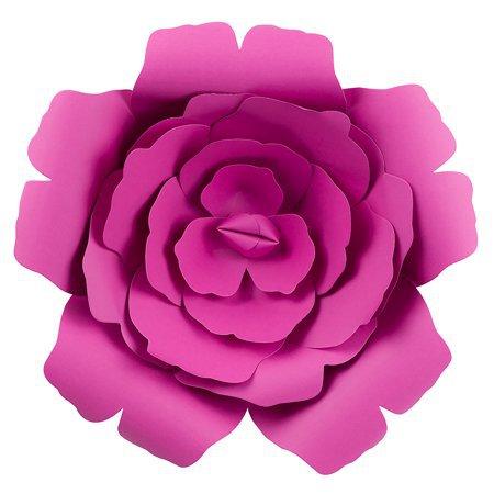 "Quasimoon Large 12"" Pre-Made Fuchsia / Hot Pink Rose Paper Flower Wedding Backdrop Wall Decor, 3D DIY Premium by PaperLanternStore - Walmart.com"