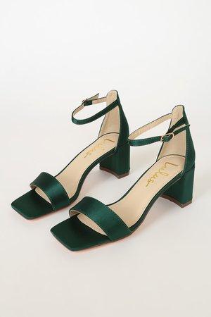 Emmett Emerald Green Satin Ankle Strap Heels