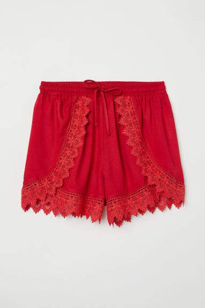 Lace-trimmed Shorts - Red
