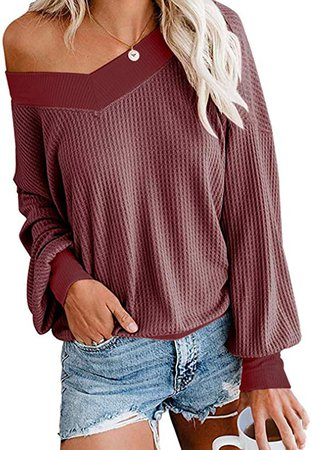 AUSELILY Women's Winter V Neck Waffle Long Sleeve Knit Light Weight Top Loose Pullover Sweater