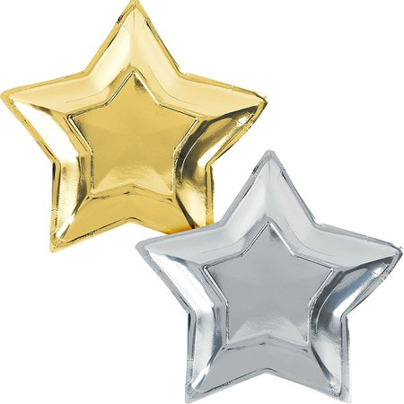 Metallic Gold & Silver Star Dinner Plates 10ct | Party City Canada