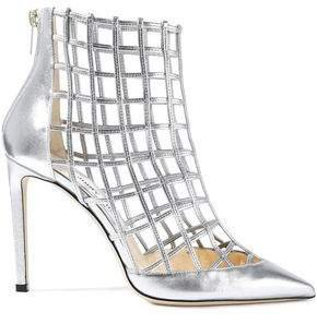 Cutout Metallic Leather Ankle Boots