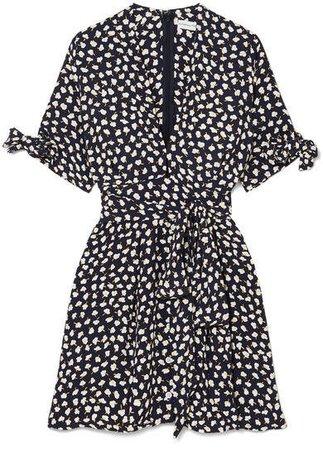 Birgit Floral-print Voile Mini Dress - Navy