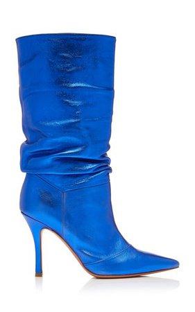 Amina Muaddi blue boots