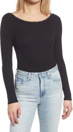 Lace Trim Long Sleeve Rib Bodysuit