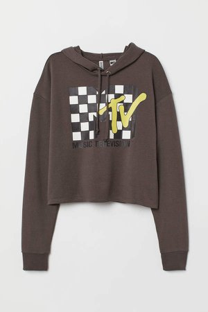 Cropped printed hooded top - Gray