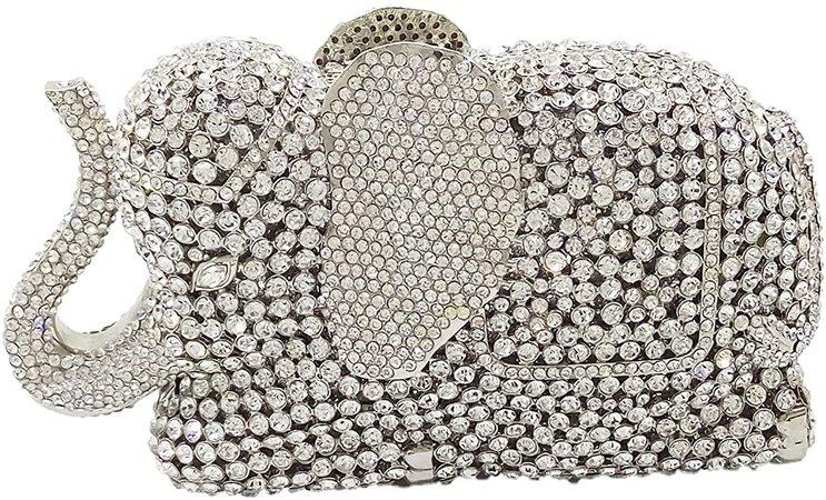 Silver Elephant Evening Clutches Bags Metal Minaudiere Handbags Clutch Bridal Wedding Party Purse: Handbags: Amazon.com