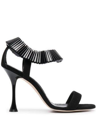 Manolo Blahnik bead-embellished suede sandals black 1211664 - Farfetch