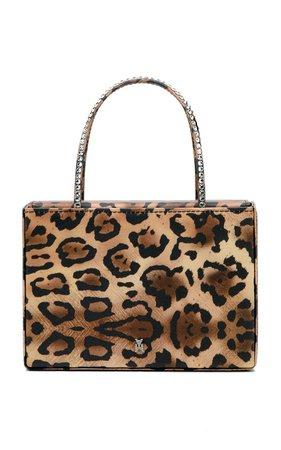 Amini Gilda Crystal-Trimmed Leopard-Print Satin Bag By Amina Muaddi | Moda Operandi