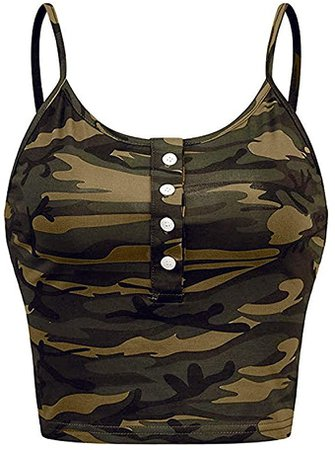 Camouflage Crop Tops For Womens 2020, FORUU Summer Plus Size Camis Sexy Casual Deep U Neck Short Tee Vest Tank Womens Sleeveless O-neck Button Up Casual Print Vest Cami Tank Top St. Patrick's Day Gift at Amazon Women's Clothing store
