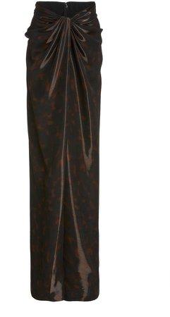 Brandon Maxwell Liquid Tortoise Front Wrap Skirt