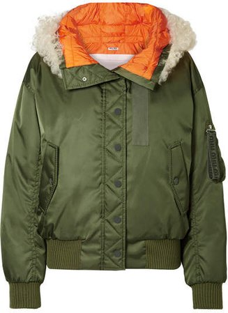 Shearling-trimmed Shell Down Bomber Jacket - Green