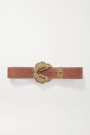 Brown Abigail embellished leather belt | Isabel Marant | NET-A-PORTER