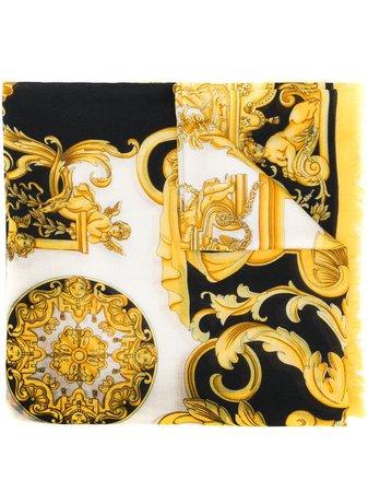 Versace Barocco-print Fringed Scarf - Farfetch