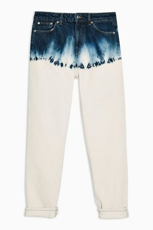 Indigo Dip Dye Mom Jeans   Topshop