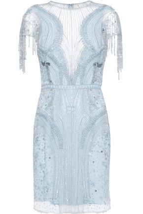 Zuhair Murad Woman Embellished Silk-Blend Tulle Mini Dress Light Blue | ModeSens