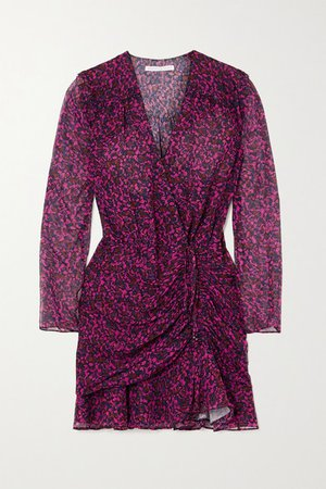 Anjali Wrap-effect Ruched Floral-print Silk-chiffon Mini Dress - Red
