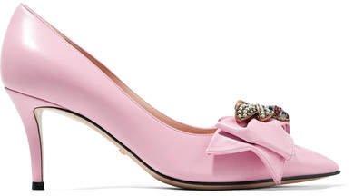 Queen Margaret Embellished Leather Pumps - Baby pink