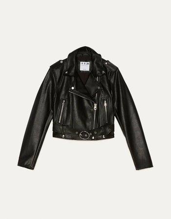 Faux leather biker jacket - Jackets - Bershka Russia