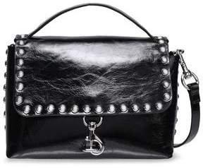 Studded Glossed Cracked-leather Shoulder Bag