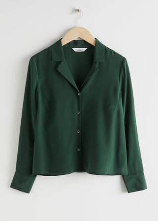 V-Cut Silk Button Up Blouse - Green - Shirts - & Other Stories