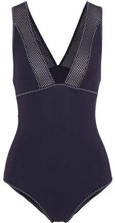 Mesh-trimmed Cutout Swimsuit