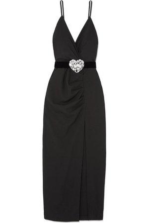 Alessandra Rich | Crystal-embellished ruched wool-blend maxi dress | NET-A-PORTER.COM