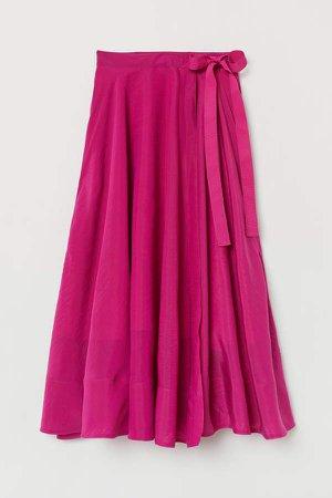 Lyocell-blend Wrapover Skirt - Pink