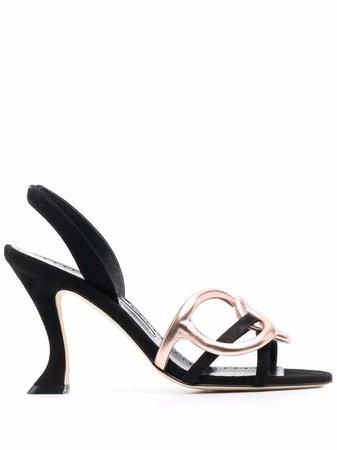 Manolo Blahnik chain-link Detail Leather Sandals - Farfetch