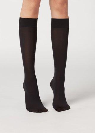 30 Denier Semi Opaque Microfibre Knee-Highs - Long socks - Calzedonia
