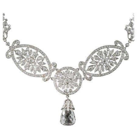 Edwardian 5.07 Carat Briolette Diamond Necklace, GIA E SI2 For Sale at 1stDibs