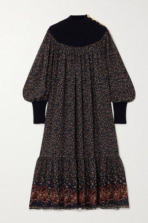 Floral-print Silk-georgette And Wool-blend Midi Dress - Navy