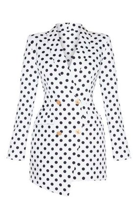 White Polkadot Gold Button Blazer Dress | PrettyLittleThing USA