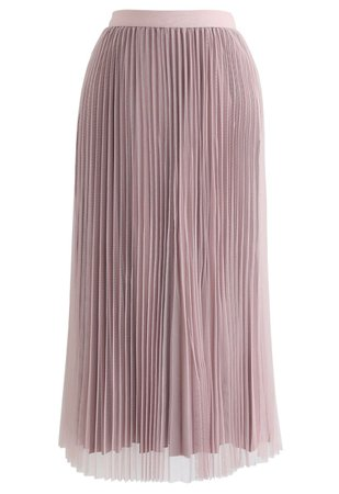Chic Wish Reversible Pleated Midi Skirt in Pink - Retro, Indie and Unique Fashion