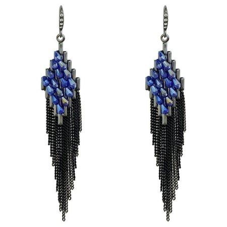 Gorgeous Black Long Tassel Crystal Women's Bohemian Dangle Earrings for Women Prom Wedding Party - Blue and Black - CE1827YUSID