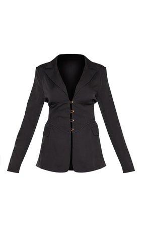 Black Corset Woven Blazer   PrettyLittleThing