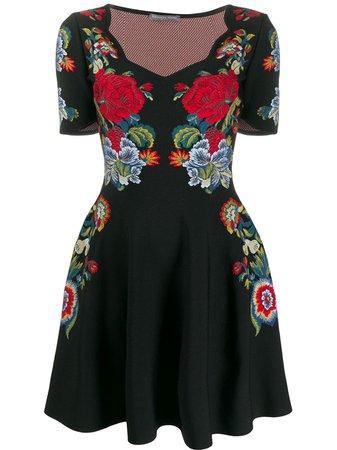 Black Alexander Mcqueen Floral Embroidered Mini Dress For Women   Farfetch.com