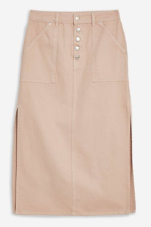 Mink Denim Button Through Midi Skirt | Topshop