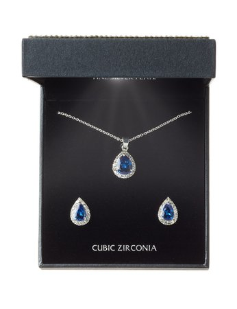 Danecraft 2-pc. Blue Teardrop CZ Necklace & Earrings Set | Stage Stores