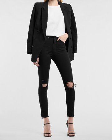 High Waisted Black Ripped Raw Hem Skinny Jeans
