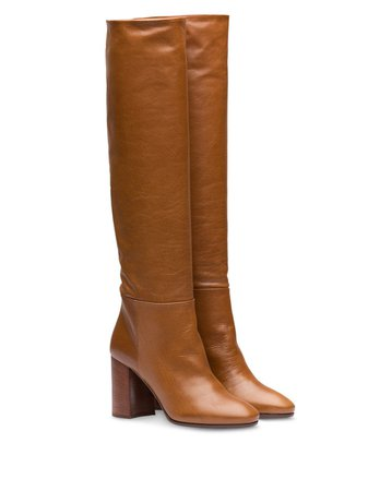 Miu Miu Pull-On Knee Length 85Mm Boots 5W896CF085070 Brown | Farfetch