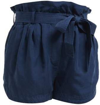 Paperbag Waist Linen Blend Shorts - Womens - Navy