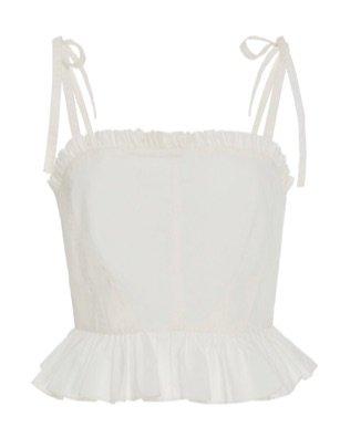 White Cotton Peplum Top
