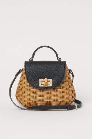 Rattan Shoulder Bag - Black