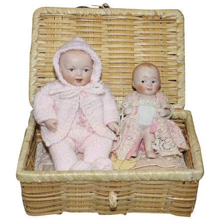 Two All Bisque Baby Dolls with Wicker Bed : HoneyandShars   Ruby Lane