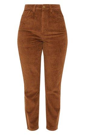 Camel Jumbo Cord Mom Jeans | Denim | PrettyLittleThing USA