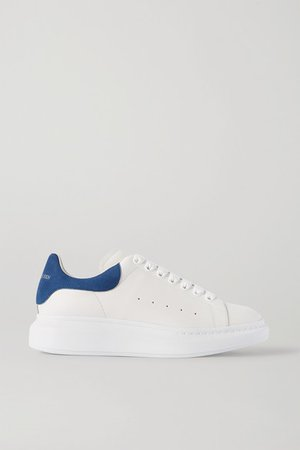 Two-tone Suede-trimmed Leather Exaggerated-sole Sneakers - White