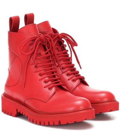 Valentino Valentino Garavani Vlogo Leather Ankle Boots