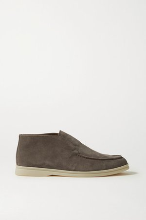 Open Walk Suede Loafers - Brown