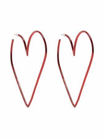 Isabel Marant heart hoop earrings red BL109021E012B - Farfetch